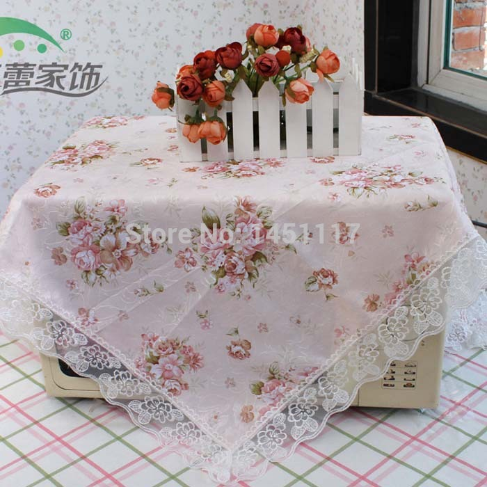 Hot Sale 90*90cm Elegant Polyester Satin Jacquard Embroidery Floral Tablecloths Cutwork Handmade Embroidered Table Cloth Topper(China (Mainland))