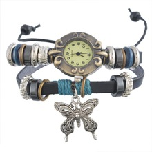 1PC Buddha beads Butterfly Charms Multilayer Leather Bracelet Watch Quartz Ladies Watches Casual Fashion Boho Accessories(China (Mainland))