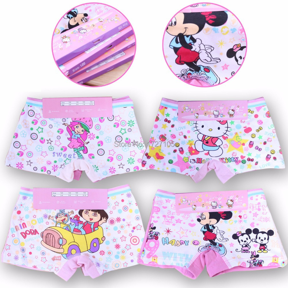 Free shipping! 2pcs Random color Hot selling boxer cotton kids underwear dora character children's panties kids girls underwear(China (Mainland))