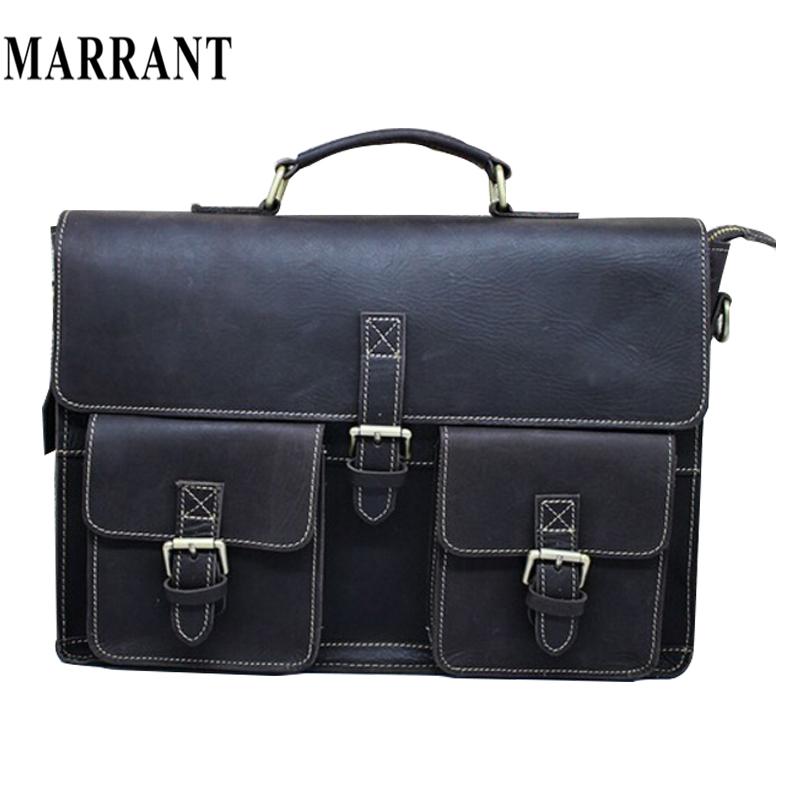 Real Crazy horse Leather men bags business Men's Briefcase Laptop Bag Messenger bags Handbag tote shoulder men's travel bag 2015(China (Mainland))