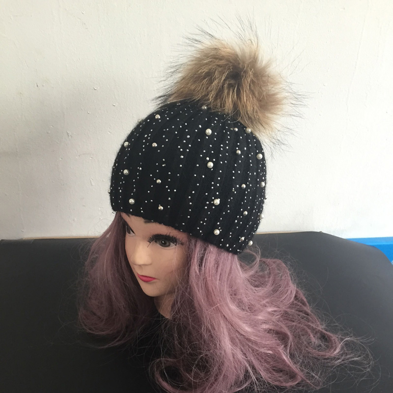 Women Winter Fur Hats Beanies Gorro Diamond Pearl Embed Female Caps Wool Headwear(China (Mainland))