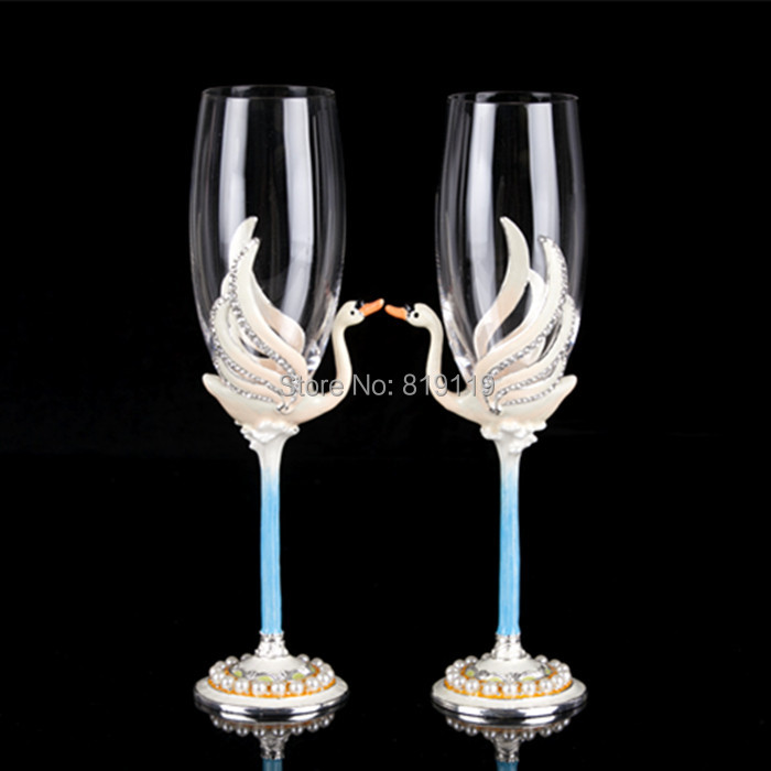 champagne glass swan Fashion wedding cup goblet the bride married quality gift set(China (Mainland))