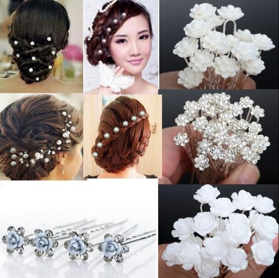 NEW 20/40Pcs Lots Wedding Bridal Crystal Faux Pearl Flower Hairpins Hair Pins(China (Mainland))