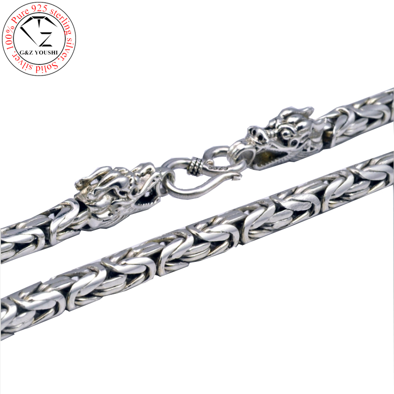 925 Sterling Silver dragon head chain men necklace men jewelry 100% Pure Silver necklace Thai silver statement necklace  N08