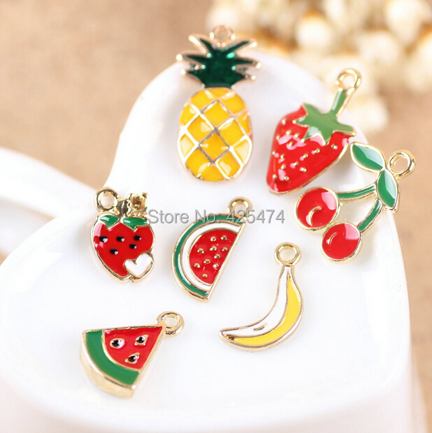 New Mini Order 20PCS 12-24MM Mixed Fuit Watermelon Stawberry Banna Cherry Pineapple Gold Tone Plated Jewelry bracelet Charms(China (Mainland))