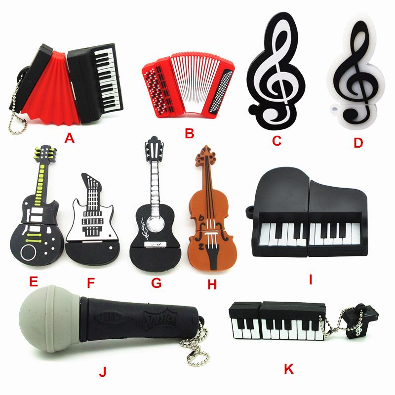 11 styles Musical Instruments Model USB flash drive microphone/piano/guitar Pen drive 4gb8gb16gb32gb flash memory stick u disk(China (Mainland))