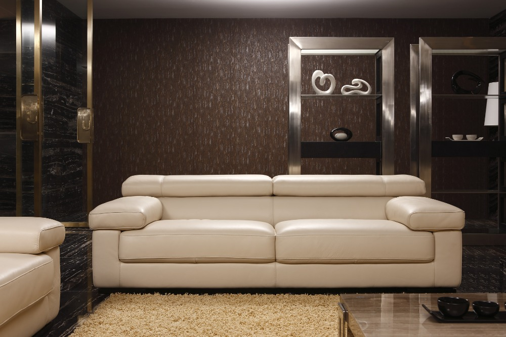 Cow genuine real leather sofa set living room sofa for Drawing room furniture set