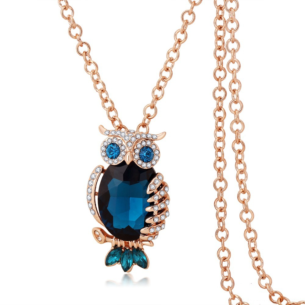 Owl Long Necklace Fashion Top Zircon Blue Sapphire Rose Gold Plated Chain Animal Pendant Necklace Jewelry For Women M9793(China (Mainland))