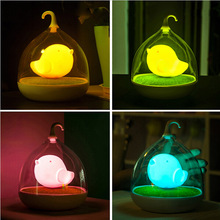 Rechargeable Batteries LED Night Light  Children's Lighting Lamp Bird Cage Sound Sensor Kid Light(China (Mainland))