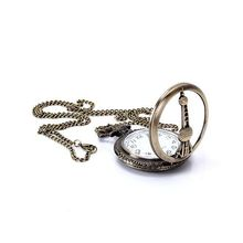 Hot Vintage Bronze Shanghai Oriental Pearl TV Tower Necklace Pocket Watch 65620(China (Mainland))