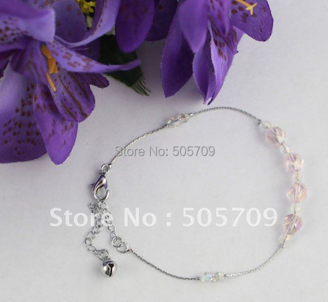 24PCS Pink/clear Glass Beaded Chain Anklets #21981(China (Mainland))