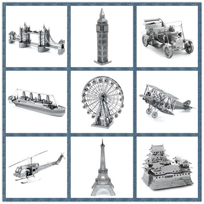 Best Price Miniature 3D Metal Model Puzzle Building Kits Ship Castle Bridge Fighter 3D Jigsaw Puzzle Educational Toys for Gift(China (Mainland))