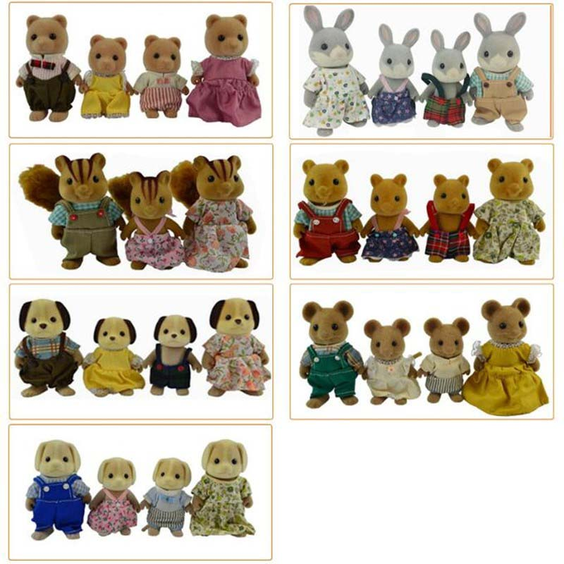 Limited Collection Sylvanian Families penguin rabbit mouse bear dog squirrel Family 4pcs Parents & Kids Set New without Box(China (Mainland))