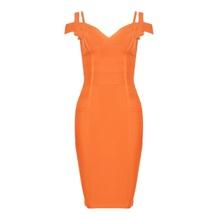 BEAUKEY телесного цвета двойной ремень V образным вырезом по колено знаменитости Бандажное платье Strecth дешевые XL оранжевый(China)