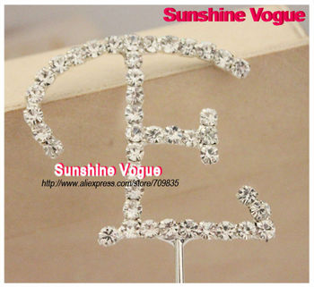 Rhinestone Cake topper, ''E'' shape shine crystal cake top decoration use for  birthday/party/wedding cake top, CPAM free