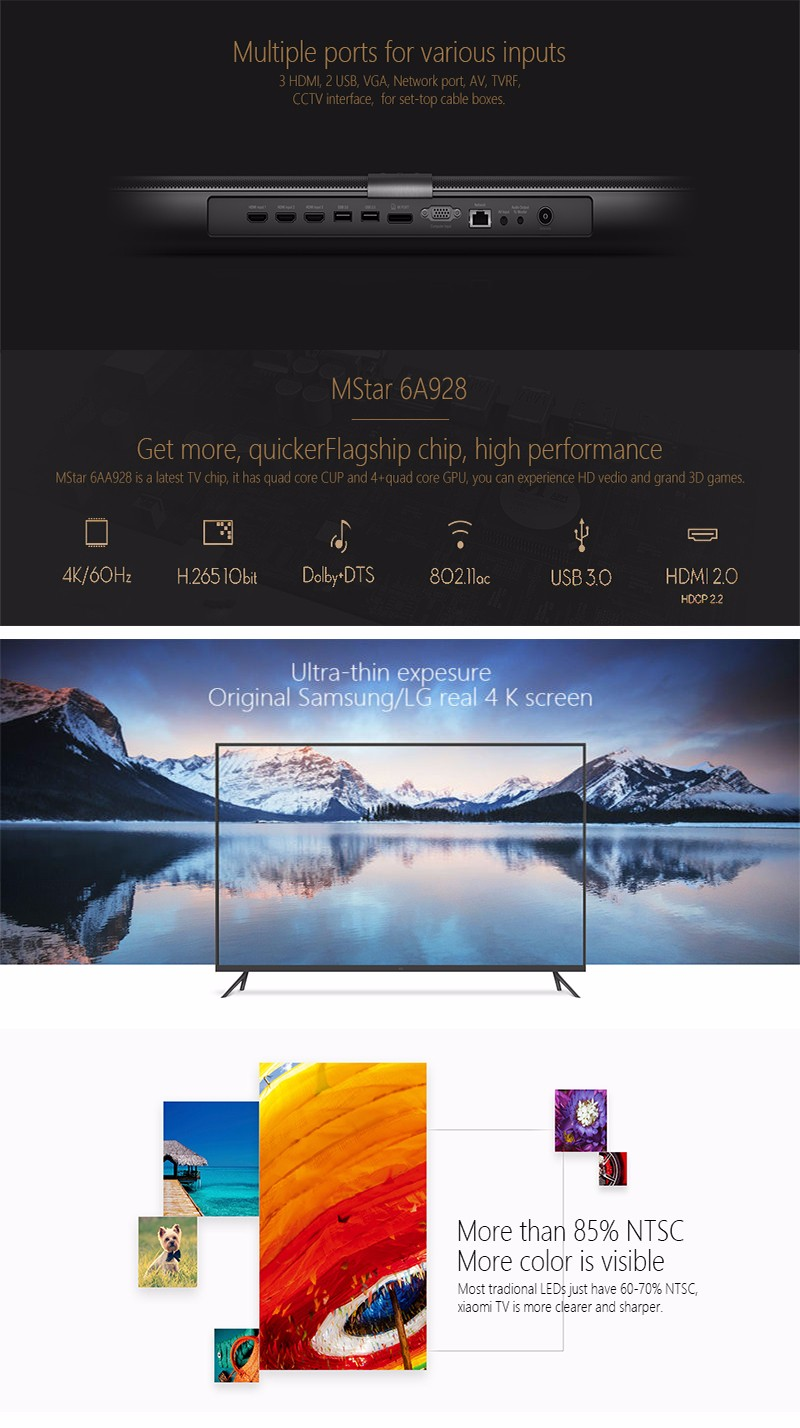 2016 New Original Xiaomi TV 3 55″ Inches Smart TV English Interface HD Screen Real 4K 3840*2160 Ultra HD Quad Core Household TV