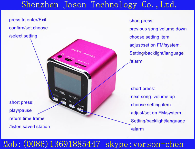 ce fc rohs speakers mini sound box with display screen(China (Mainland))