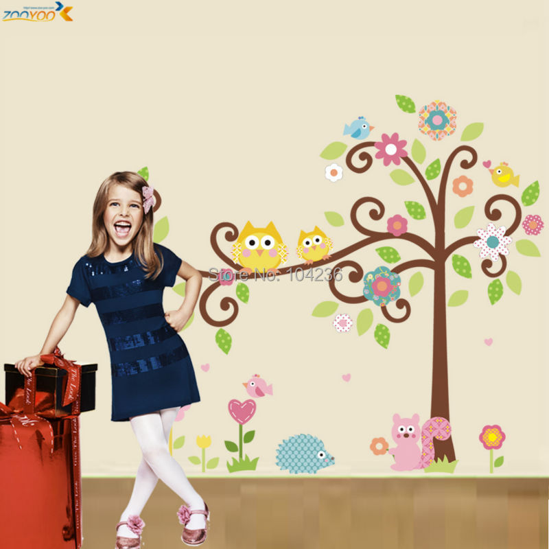 owl wall decals colorful tree wall arts zooyoo1001 cartoon wall decal diy animal wall stickers for kids room home decorations(China (Mainland))