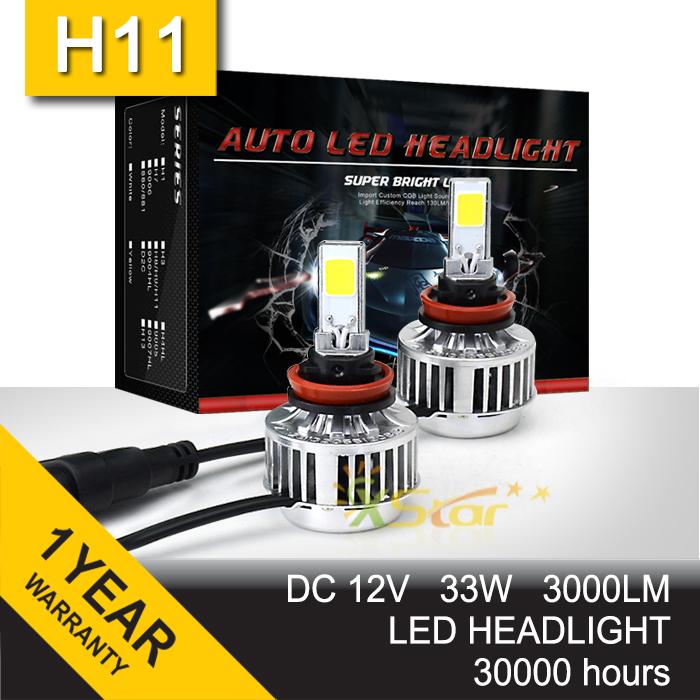 Pair 33W LED Headlight Headlamp Auto Conversion Car COB Kit CREE H7 H8 H9 H11 9005 9006 HB3 HB4 3000LM DRL Fog Light All In One(China (Mainland))