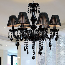 Modern Black Crystal Lights Crystal Chandeliers Pendant Lamp Dining Room Living Lobby lamp Lighting UseX6pcs E14 LED Candle Bulb(China (Mainland))