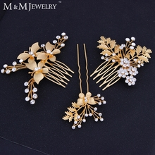 3pcs/set 14K Gold Butterfly with Leaves Bridal Combs Cystal Flower Wedding Hair Accessories Tiara TS022(China (Mainland))