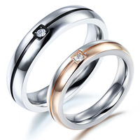 OPK Classical Fashion Lovers' Wedding Rings Simple Design Stainless Steel Crystal Stone Finger Bands Jewelry Cheap Price