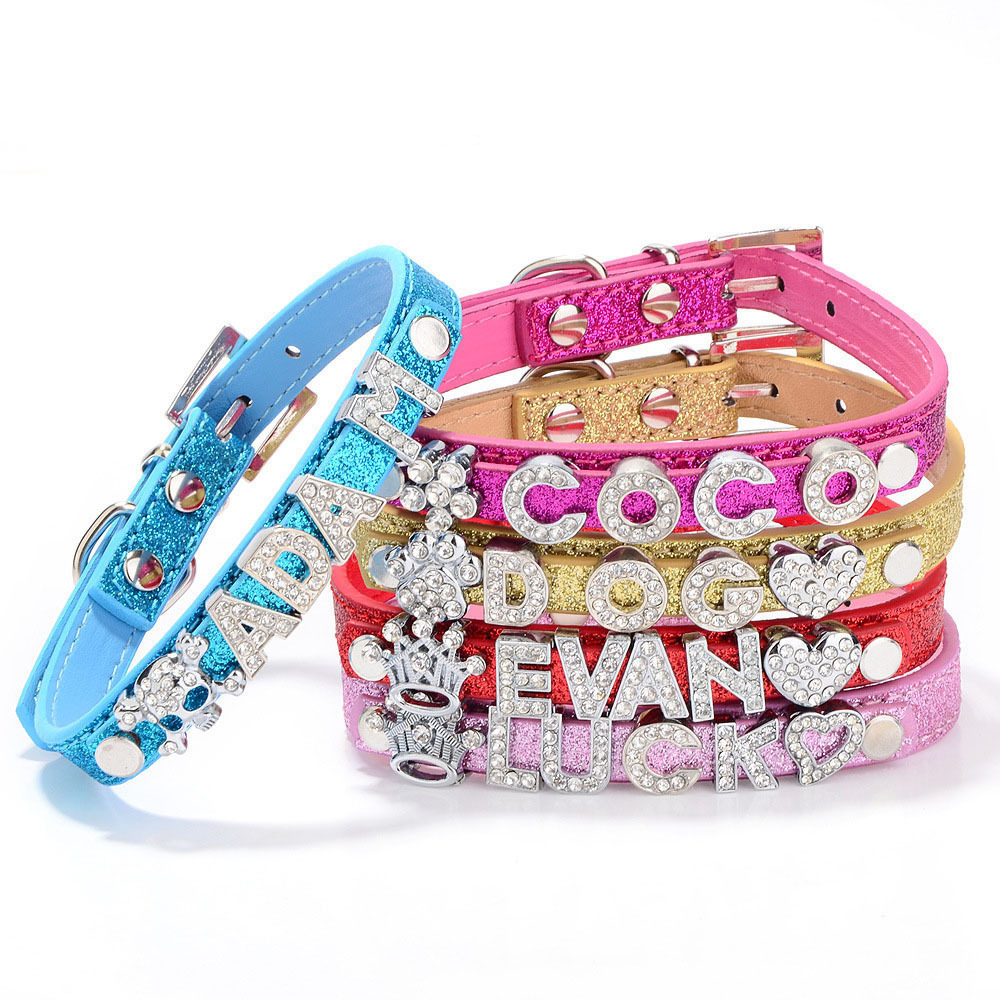 Hot Sale 10MM Free DIY Name Bling Personalized Pet Dog Collar Customized with Rhinestone Buckle (Free &5 PCS Letter &1PCS Charm)(China (Mainland))