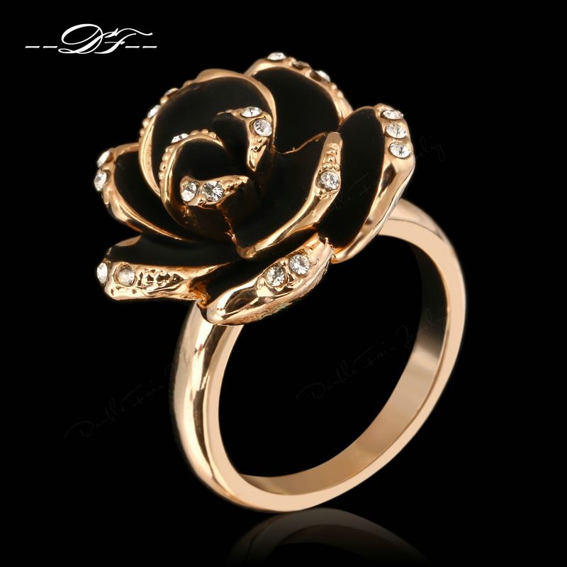 Romantic Rose Flower Crystal Paved Party Rings Wholesale 18K Rose Gold Plated Fashion Brand CZ Diamond Jewelry For Women DFR094(China (Mainland))