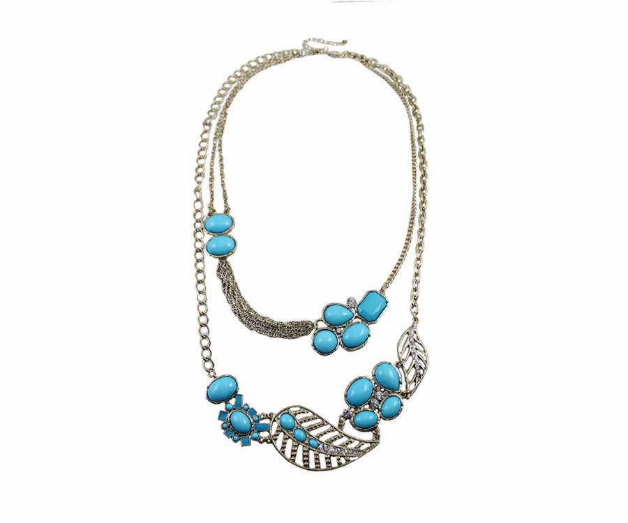 Free shipping quartz watch maxi necklace quality marine wind blue leaves multi-layer necklace statement necklace watch women(China (Mainland))