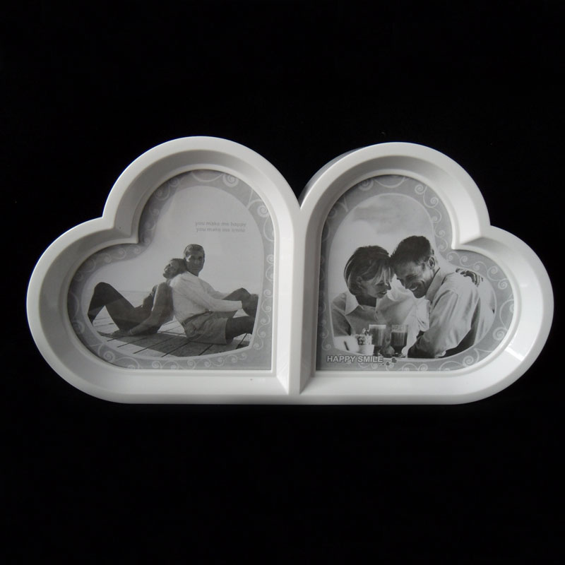 Free shipping white photo frame double heart child baby photo frame photo frame swing sets(China (Mainland))
