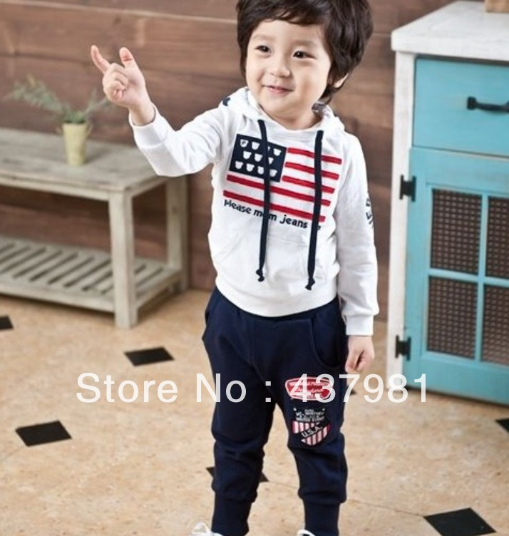 HOT- Spring/autumn fashion children suit Baby Sports Set 2pcs sport clothing set baby sports suit  American flags baby set<br><br>Aliexpress