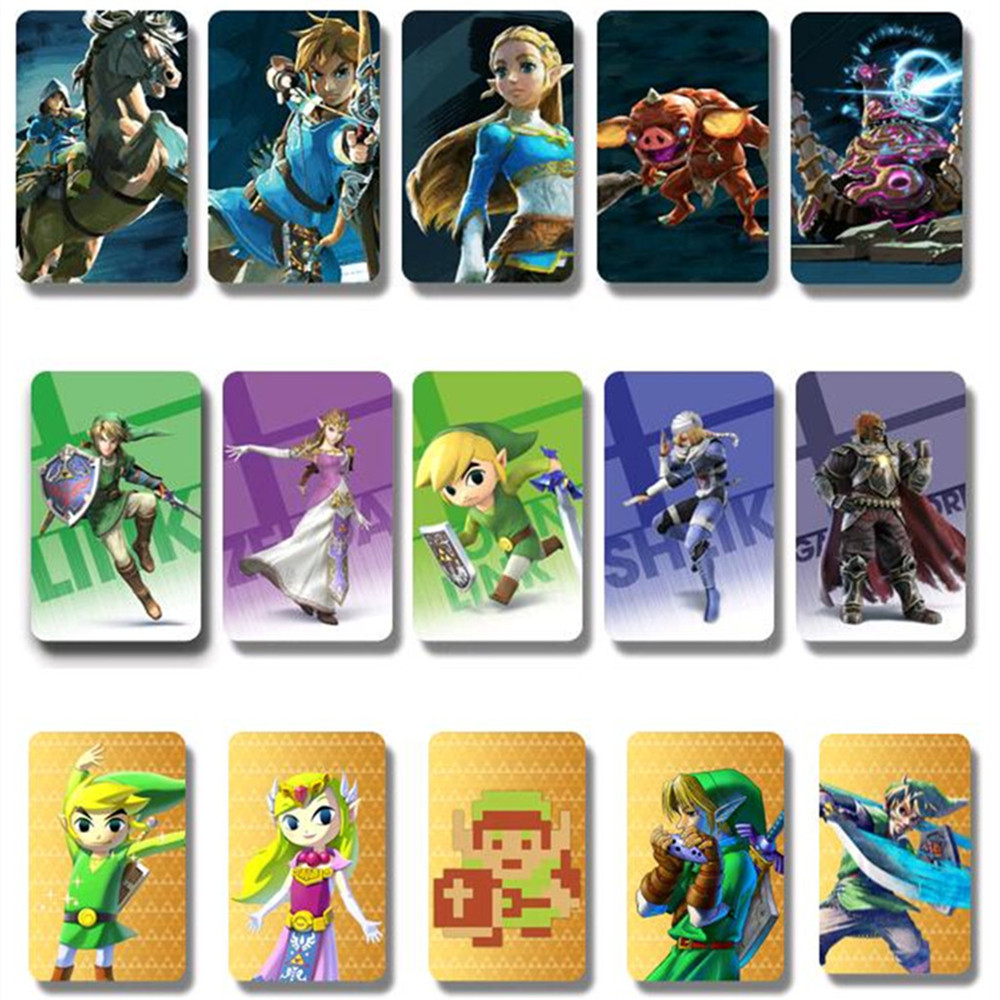 Kids Toys 18Pcs/Set Zelda Amiibo Cards NFC Amiibo Tag Card Breath of the Wild 20 Heart Wolf Link Fierce Deity For Children Gifts(China (Mainland))