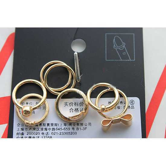 Hot Sale Rings Set For Women Gifts 2015 7Pcs Bow Skull Heart Above Knuckle Nail Band Mid Finger Mini Rings Set Finger Rings(China (Mainland))