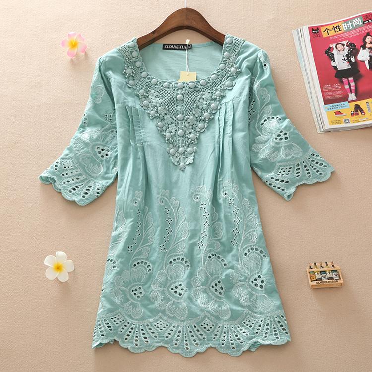 2014 summer loose cutout lace beading medium-long half sleeve shirt top plus size clothing cute shirt(China (Mainland))