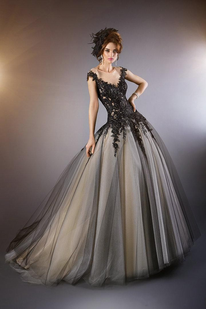 Black Wedding Dress With Train : Train bridal gown cap sleeves gl from reliable dress up party