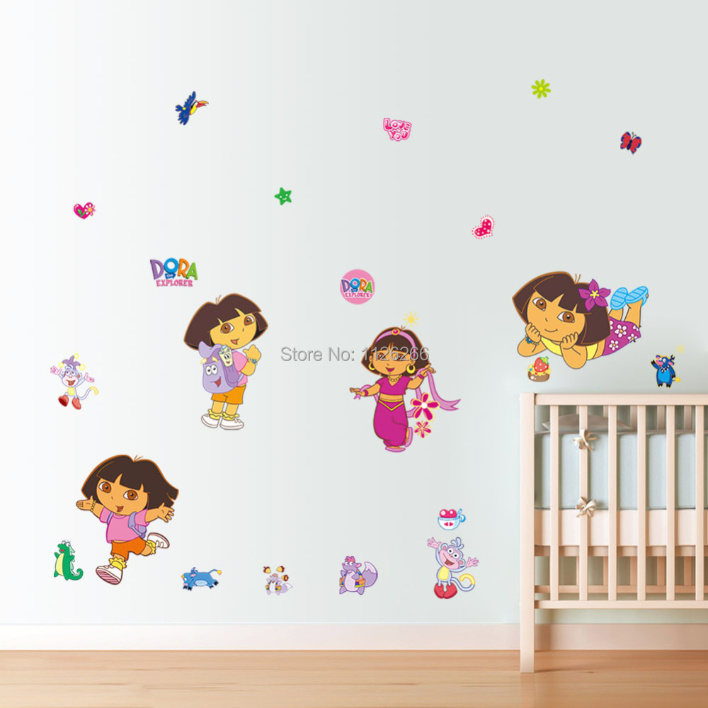 Dora the Explorer Kids Wall Sticker Cartoon Removable Nursery Decorative Wall Decals(China (Mainland))