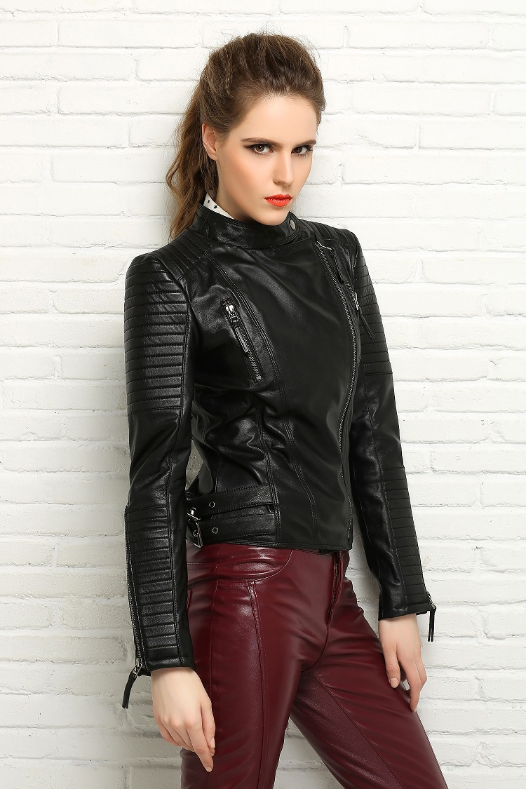 Womens leather jacket real