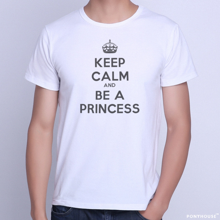 Гаджет  2015J HON BE A PRICESS AND to KEEP CALM English male short sleeved T-shirt None Изготовление под заказ