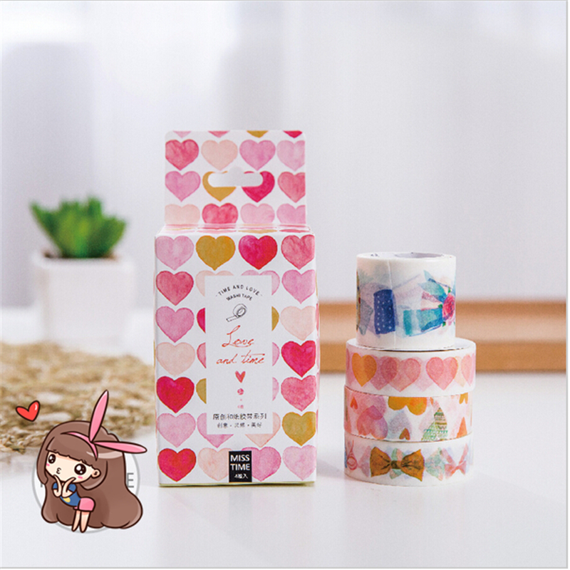 4 pcs/lot Love and Time washi tape 3+1 DIY paper masking tapes for diary album scrapbooking Stationery School supplies(China (Mainland))