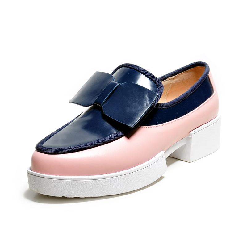 Фотография Sweet butterfly spring autumn full grain genuine leather 3.5cm high heels single shoes women round toe platforms fashion pumps