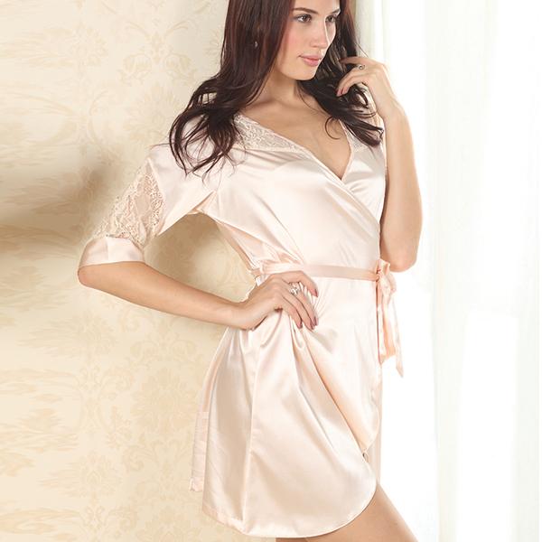 Сексуальное ночное белье халаты роскошные кружева искусственного шелка атлас пижамы глубокий v-образный вырез халаты пижамы ночные сорочки