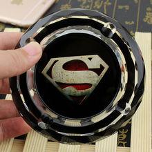 Hollywood Movies Superhero Superman Creative Smoking Gift For Film Fans Boyfriend Husband  Bedroom Mini Crystal Ashtray(China (Mainland))