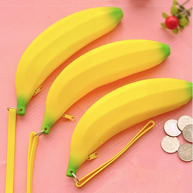 1 X Kawaii мужская мужчин женщин девушки новинка силиконовые портативный банан монета ...