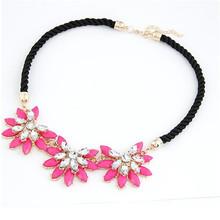 2015 Hot Sale Design Western Style Multi layer Weave Rhinestone Flower Water Drop Necklace Jewelry Statement