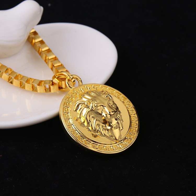 2015 new 24K Gold Plated Lion Head pendants High Quality Fashion Hiphop franco long necklaces gold Chain for mens bijouterie(China (Mainland))