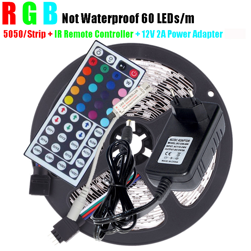 5m RGB 5050 LED Strip 300Led SMD 300LEDs Non Waterproof Lamps DC12V LED light + IR Remote Controller + 12V 2A Power Adapter(China (Mainland))