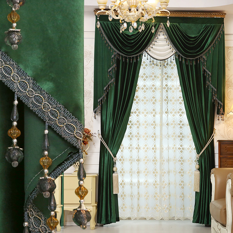 Bay window luxury solid color fashion finished products flannelet material floor window green balcony curtain drapes customize(China (Mainland))