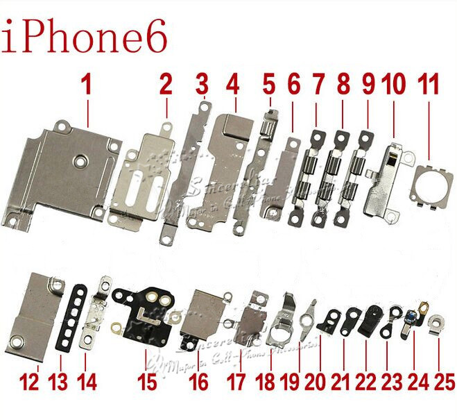 For iPhone 6 4.7 inch inner parts 25pcs in one set original repair parts Oiginal New Inner Small Parts Fastening & Brackets