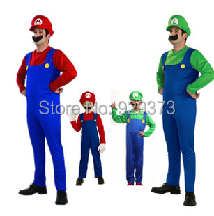 Mario cosplay Halloween Costumes children adult clothes - Online Store 929373 store