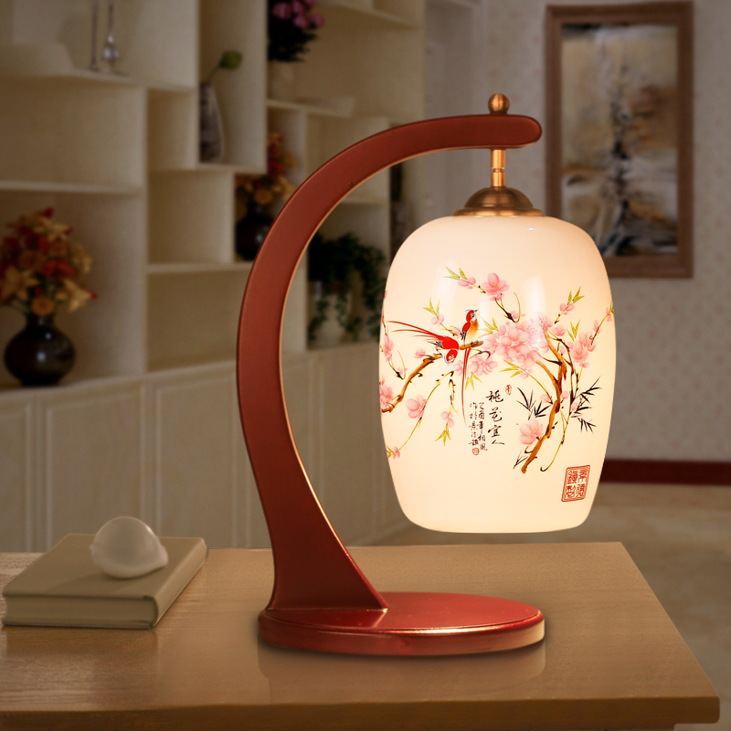 Russian Style Led Table Lamps For Living Room Jingdezhen Wooden Modern Table Light Handpainted Ceramic Lamp(China (Mainland))